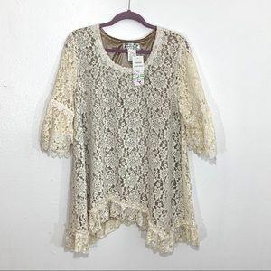 NWT Lady Noie Cream Color Lace Blouse Size 1XL